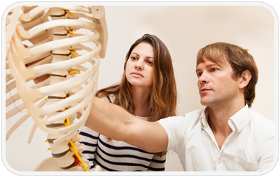 chiropractor and patient looking at a skeleton